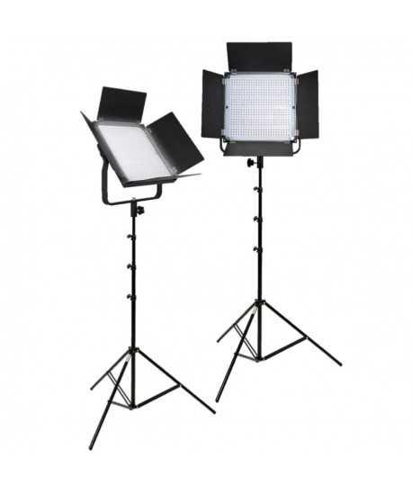 Kit 2 panneaux 600 LED Bi-color 4 batteries, pieds, sac